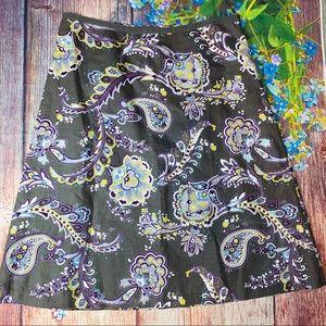 Laura Ashley Gray Paisley Linen Cotton Skirt 10